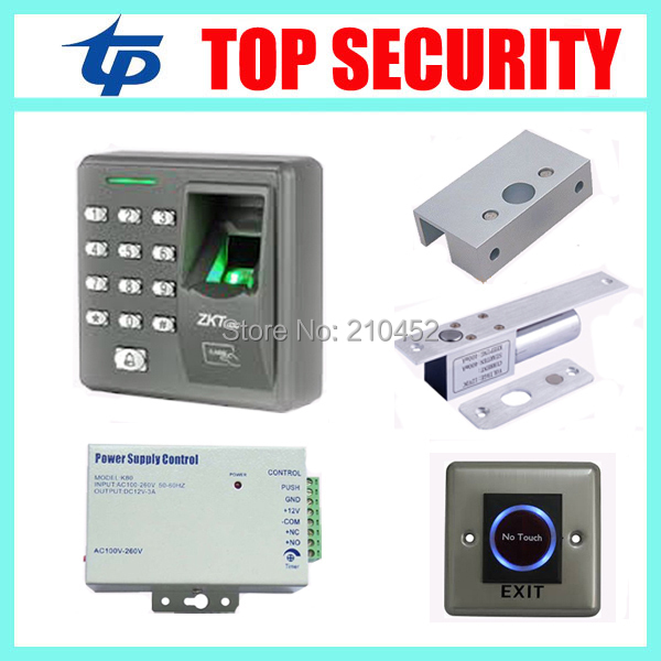 Free shipping fingerprint access control system X6 +power supply+electric lock+touch exit button+bracket