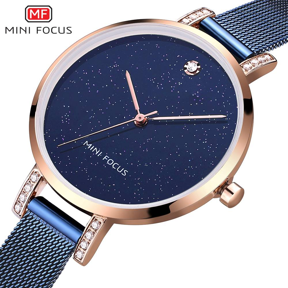 MINI FOCUS Rose Gold Women Watches Stainless Steel reloj mujer Top Brand Luxury Clock Ladies Quartz Wrist Watch Relogio Feminino reloj mujer gold watch women luxury brand new geneva ladies quartz watch gifts for girl stainless steel rhinestone wrist watches