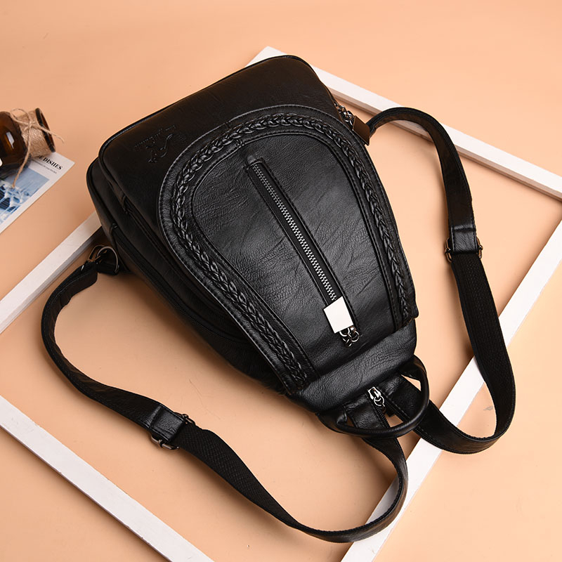 HTB1 njtw8mWBuNkSndVq6AsApXap Women Leather Backpacks Zipper Female Chest Bag Sac a Dos Travel Back Pack Ladies Bagpack Mochilas School Bags For Teenage Girls