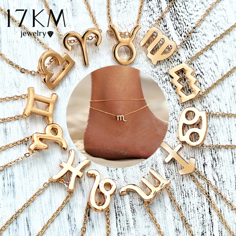Bohemian 12 Zodiac Constellation Anklets For Women Leg Chain Personalize Gold Anklet 2019 Summer Foot Jewelry Drop shipping