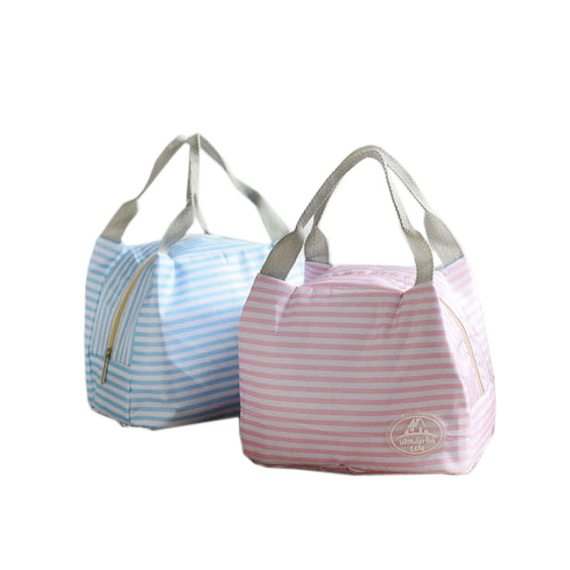 Blue Andesan Portable Wave Point Lace Insulated Lunch Bag for Kids Picnic Bag