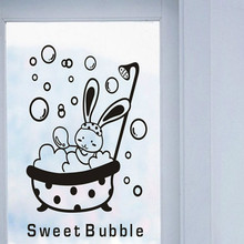 FREE SHIPPING!1PCS Cartoon Kawaii Rabbit Sweet Bubble Wall Stickers Toilet Switch Bathroom Home Decoration