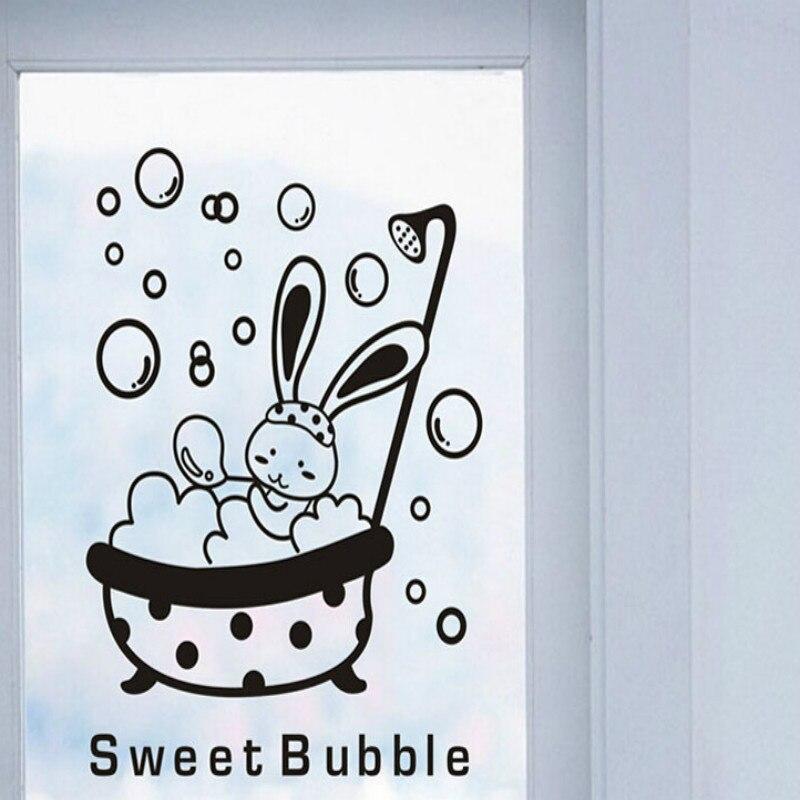 FREE SHIPPING!1PCS Cartoon Kawaii Rabbit Sweet Bubble Wall Stickers Toilet Switch Bathroom Home Decoration