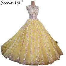 Nowe kolorowe kwiaty suknie ślubne najnowszy Sexy perły bez rękawów kryształowy tiul Bride suknie 2020 Vestido De Noiva