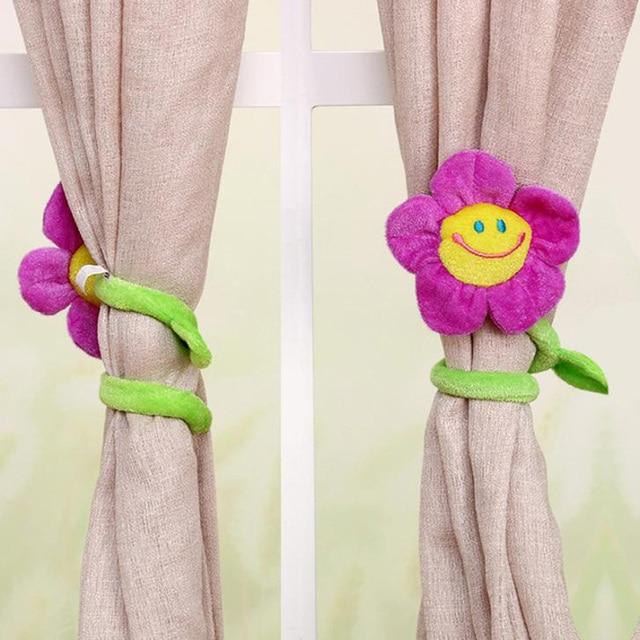 1Pc New Modern Fashion Curtain Clasps Clip Buckle Curtain Tieback Holdback Holder Cute Cartoon Flower