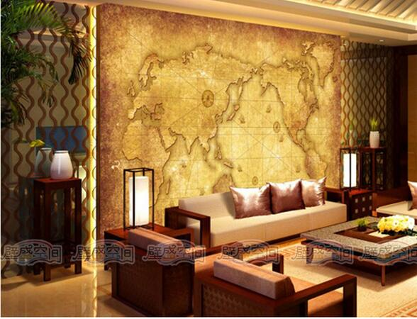 Aliexpress Com Buy Large Custom Mural Wallpapers Living: 2016 Retro World Map Wallpaper ,Large Living Room Bedroom