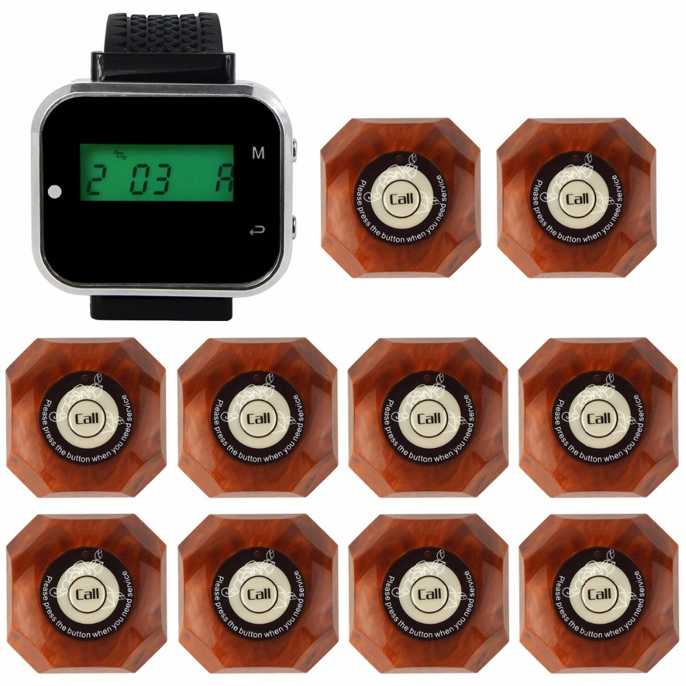 TIVDIO Wireless Restaurant Calling System Waiter Call System Guest Watch Pager 1 Watch Receiver + 10 Call Button F3300A wireless restaurant calling system 5pcs of waiter wrist watch pager w 20pcs of table buzzer for service