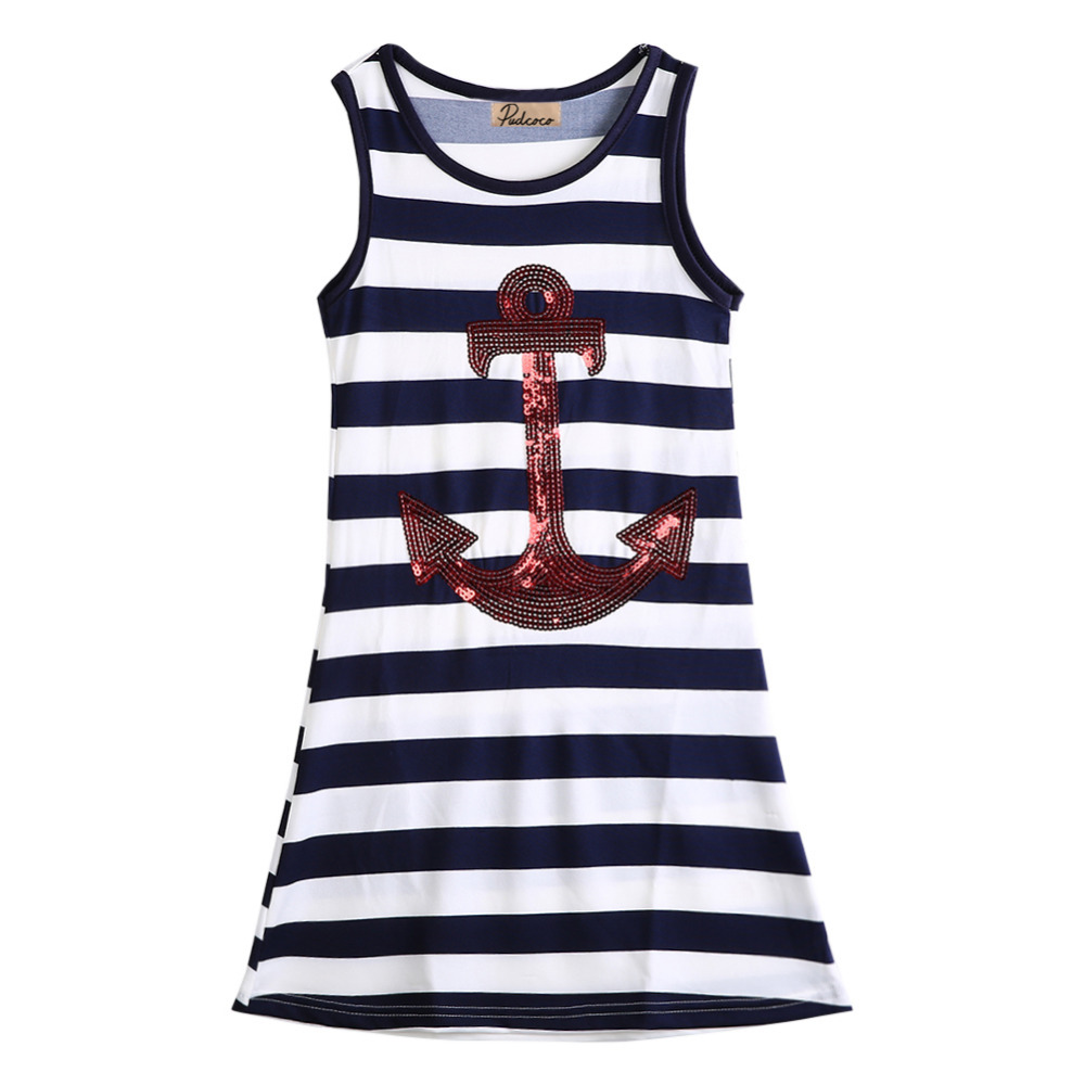 Fashion Kids Girls Sequins Anchor Navy Stripes Party Dress dark blue and white stripes Beach Dress 3-8Y