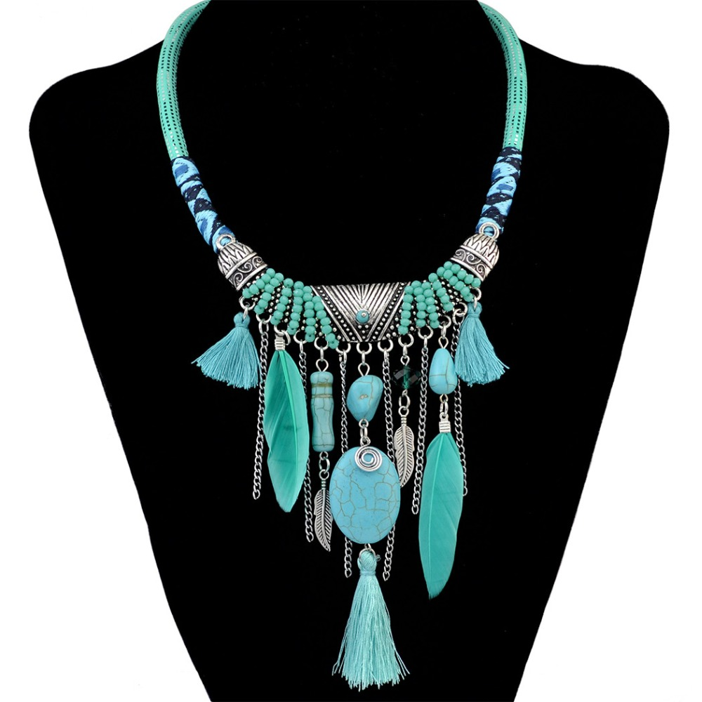 Fashion Bohemian Ethnic Vintage Leather Chain Resin Bead ...