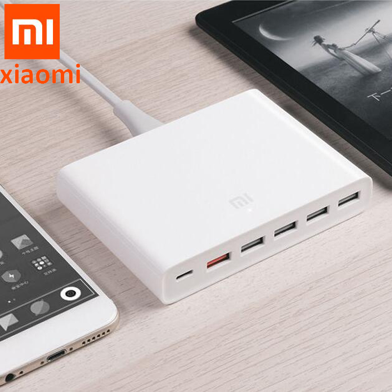 100% Original XIAOMI Fast Charger QC3.0 Phone Smart Device 110-240V 60W 5 USB 1 Type-C Ports QC 3.0 Output USB-C For Iphone PAD