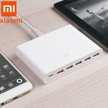 Carregador rápido xiaomi original 100%, dispositivo inteligente 110 240v 60w 5 usb 1 tipo c portas qc 3.0 saída USB C para iphone pad