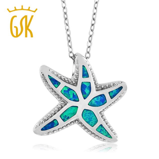 """Gemstoneking lindo náutico starfish criado opal 925 pingente de prata esterlina para mulheres com 18 """"corrente de prata"""