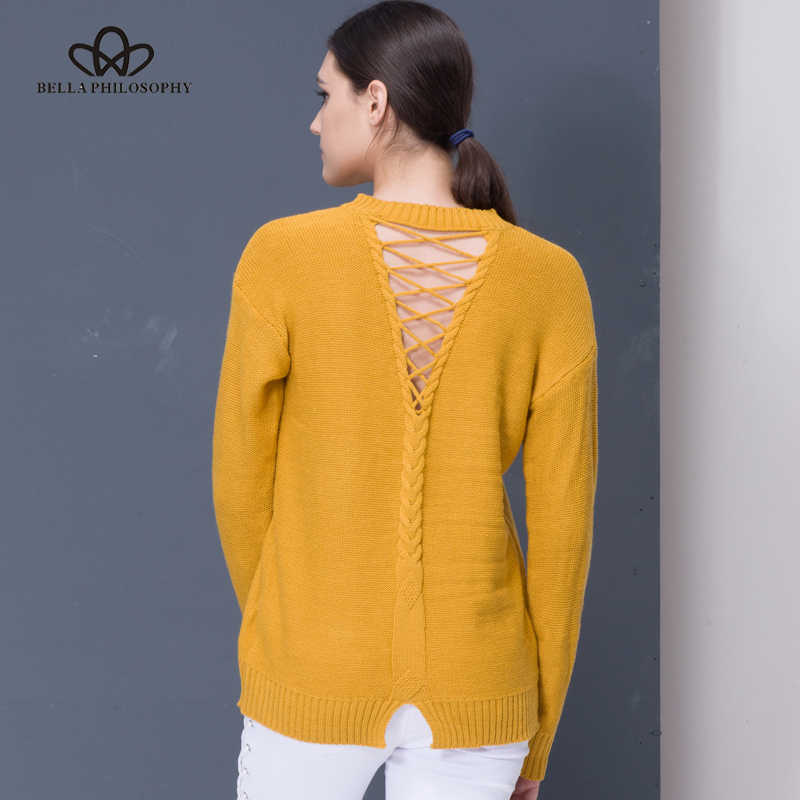 Bella Philosophy 2019 women autumn winter new back lace up hollow out causal sweater pull over gray yellow khaki