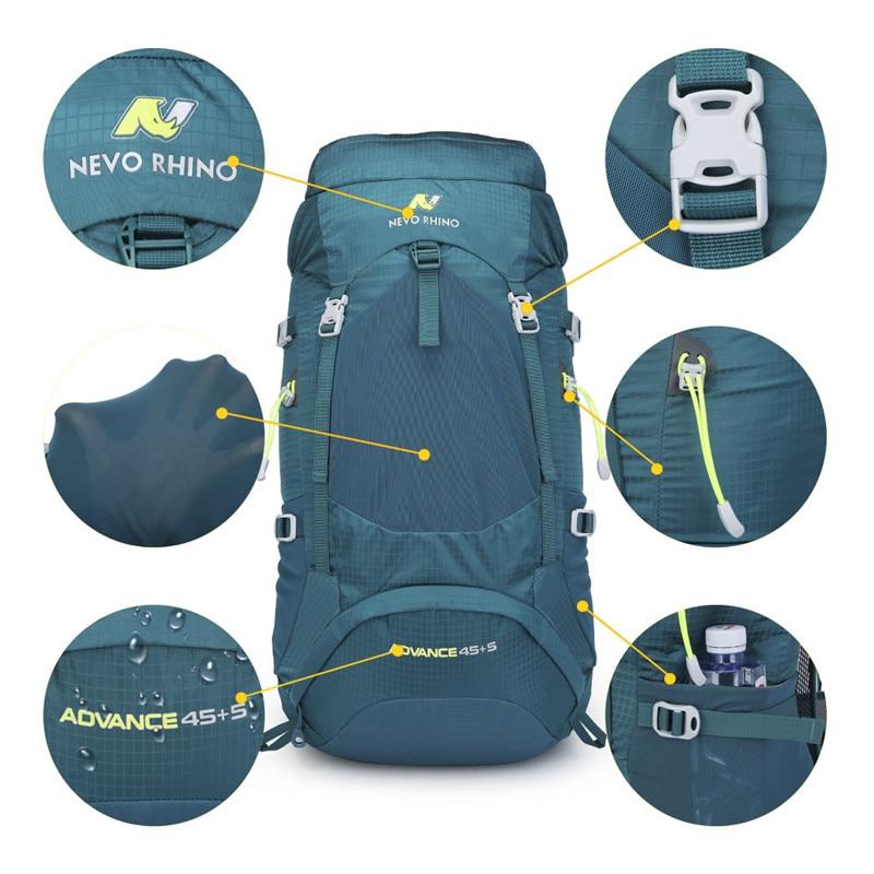 Image 5 - NEVO RHINO 50L Waterproof Mens Backpack Unisex travel pack bag  hiking Outdoor Mountaineering Climbing Camping backpack for  maleBackpacks