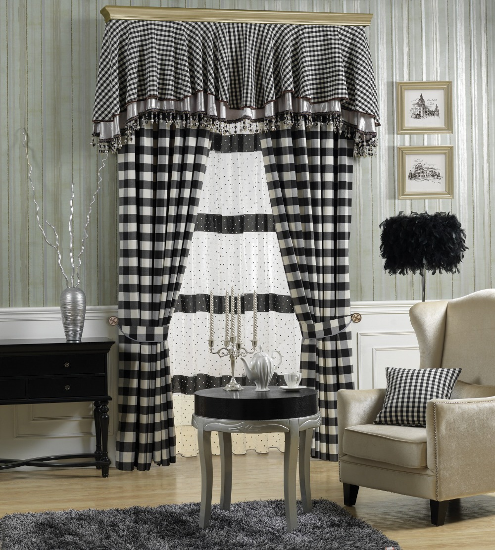 Black and white checked curtains - The New Plaid Checkered Curtains New Curtain Fabric Screens Bedroom Living Room Curtains China