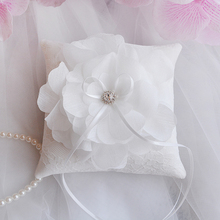 Top Quality White Lace Wedding Ring Bearer Pillow Big Flower Pillows Cushion Party supplies DIY decoration 15x15cm