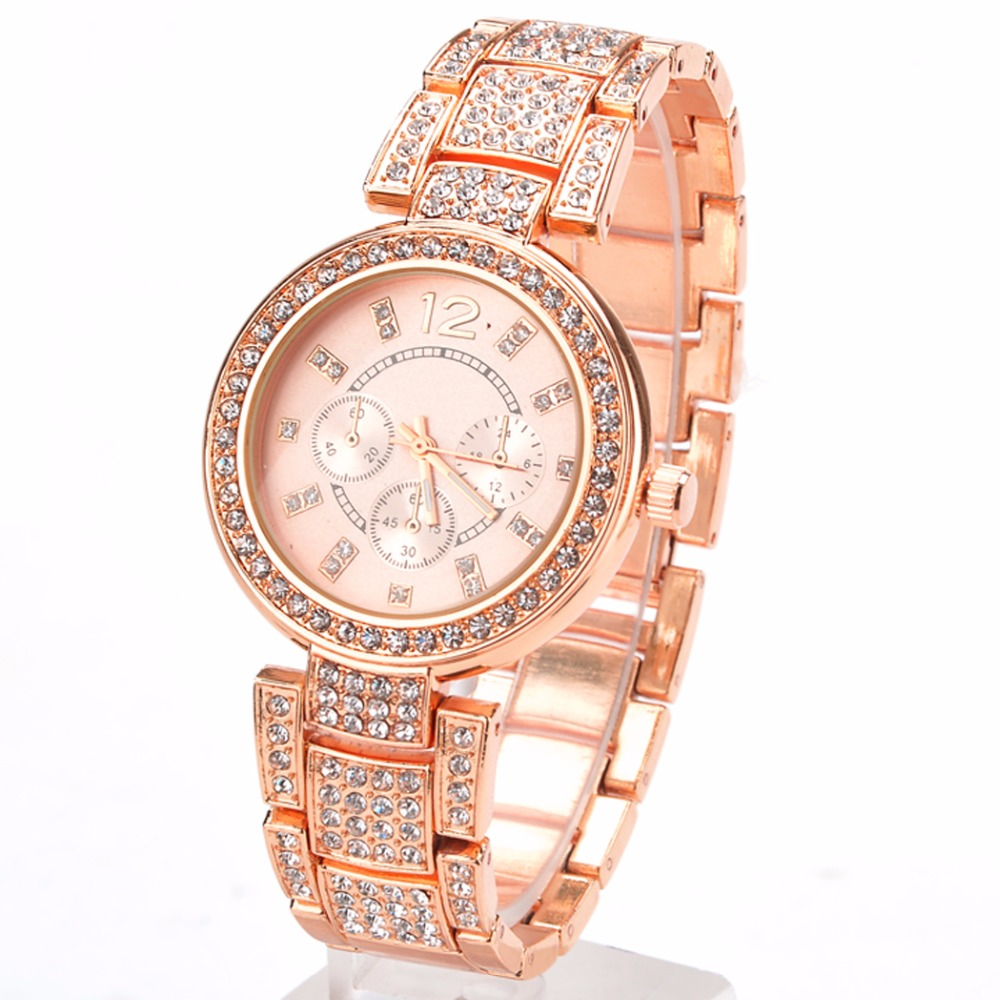 2015 New Fashion Geneva Watch Women Dress Watches Rose gold Full Steel Analog Quartz men Ladies Rhinestone Wrist watches 58#
