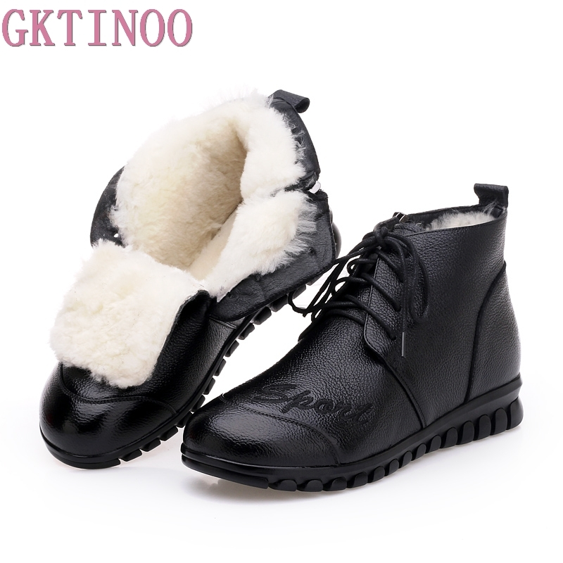 GKTINOO Women's Boots Ankle Boot Genuine Leather Wool Warm Winter Boot Ankle Boots For Women Flat Fashion Lace Up Ladies Shoes