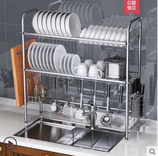 304 en acier inoxydable bol rack évier drain rack cuisine étagères évier bassin rack 2 étages maison