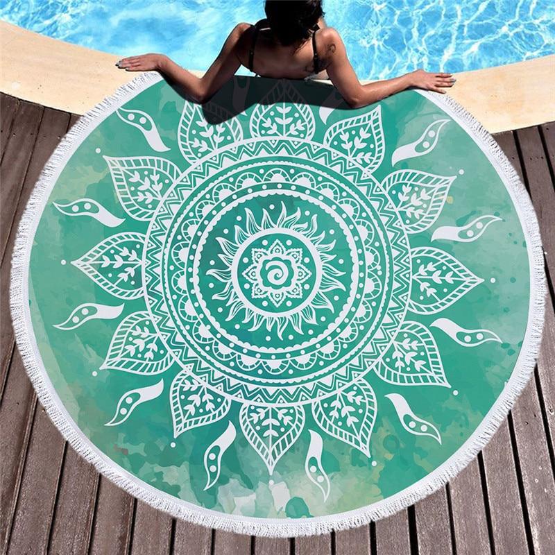 Runde Mandala Strand Handtuch Mikrofaser Super Saugfähigen Badetücher für Erwachsene mit Quaste Yoga-Matte Flamingos Tapisserie Wohnkultur