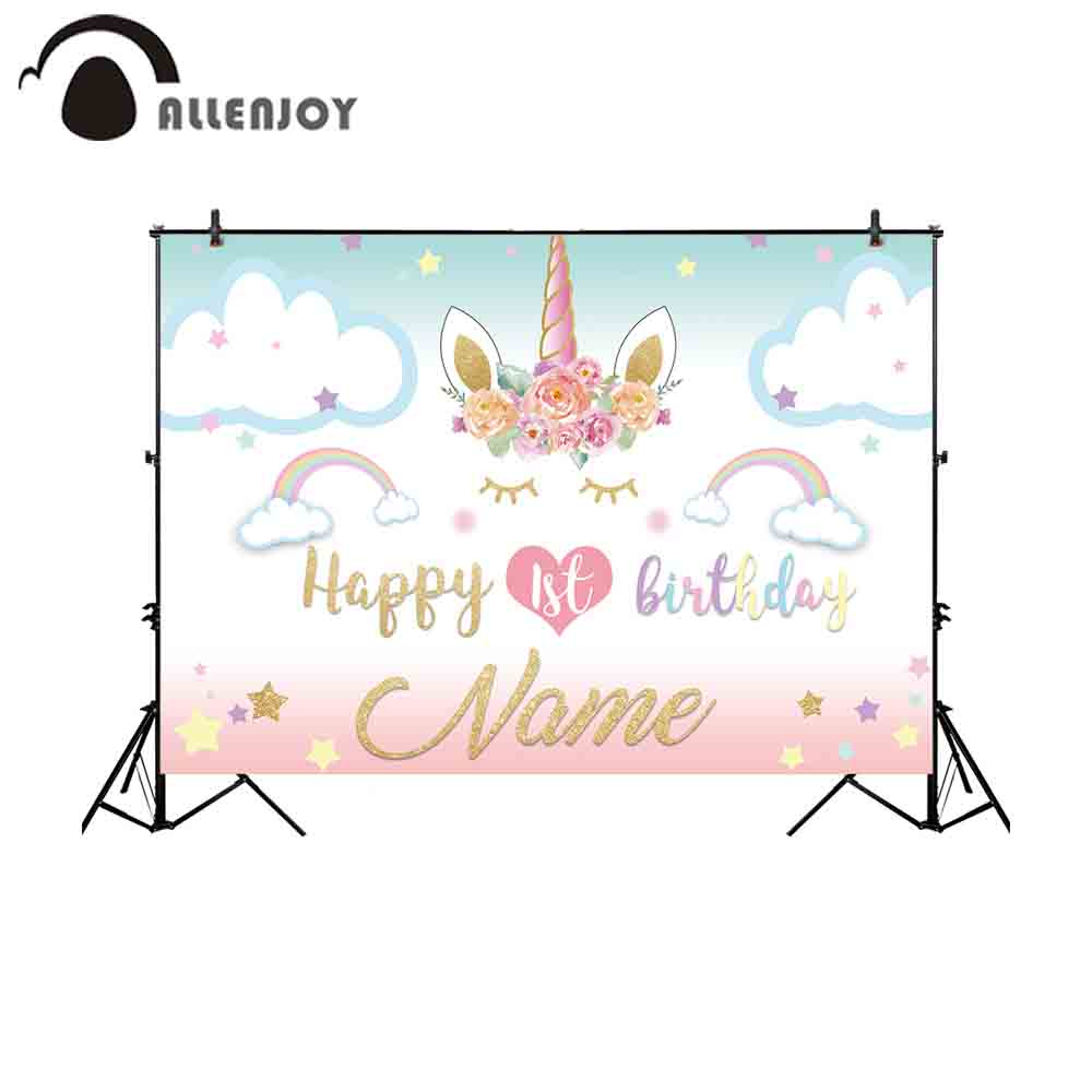 Allenjoy photography backdrop unicorn birthday rainbow stars clouds background photo shoot photocall photobooth fabric decor photographic studio background white clouds blue dinette chinese style new born professional xmas photocall background pictures