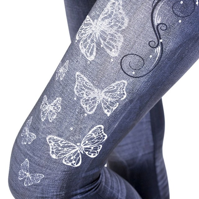Kobiet druku Denim ołówek spodnie Stretch talia spodnie jeansowe damskie Calca Feminina dopasowane dżinsy dla kobiet chude wysokiej talii dżinsy