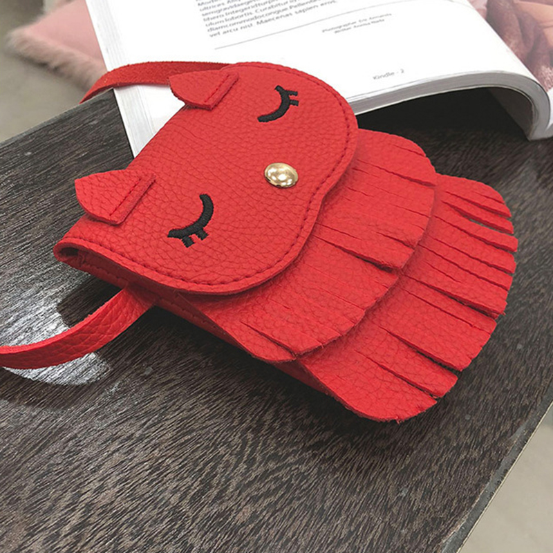 HCH-Fashion Boutique Kawaii Children Girls Tassel Small Cat Shoulder Messenger Bag Mini Coin Purses PU Leather Handbags red