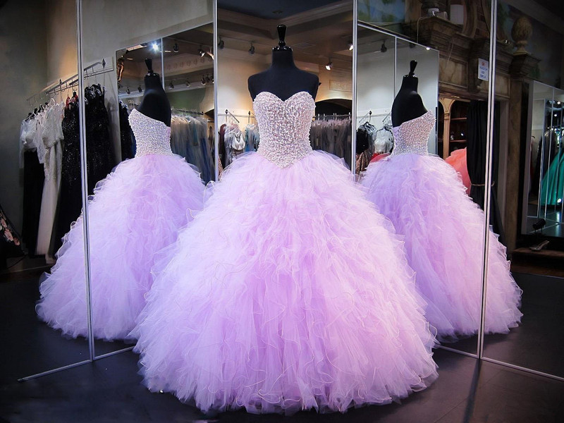 15 Anos Dresses Pink: Lavender Ball Gown Sweet 16 Dresses Sweetheart Pearls
