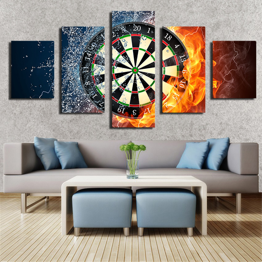 2016 real 5 piece darts wheel target fire water home wall decor picture print on canvas painting set of each unframed in painting calligraphy from home