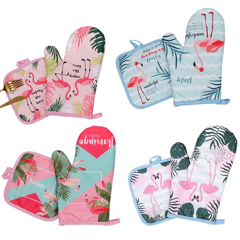 Oven-Mitts Microwave Kitchen-Gloves Baking Flamingo BBQ Potholders Cotton 2pcs 30 1-Pair
