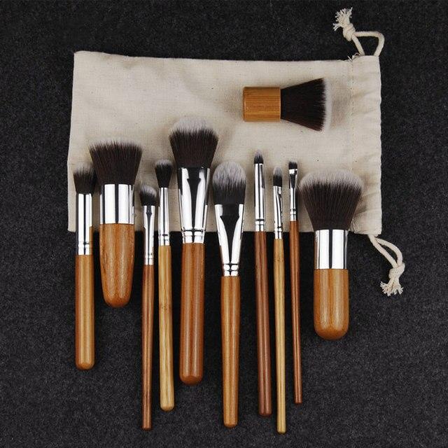 11PCS Professional Bamboo Makeup Brushes Set Cosmetics Foundation Make Up Brush Tools Kit for Powder Blusher Eye Shadow Eyeliner 2