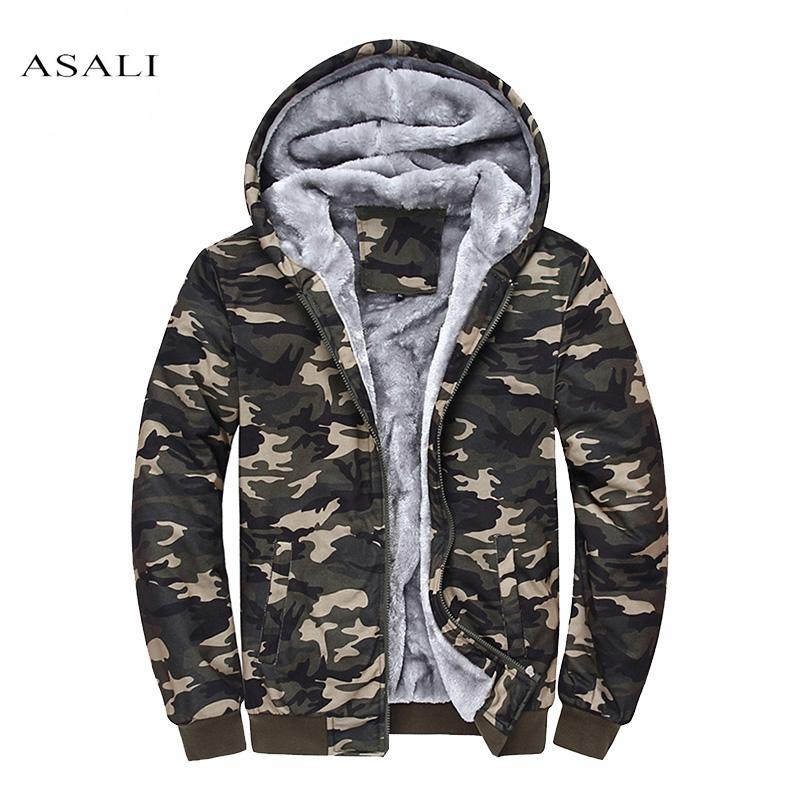 Camo Men Hoodies Brand Clothing Camouflage Hoodied Tracksuits Velvet Fleece Warm Thick Sweatshirt Casual Hooded Jacket Sudaderas