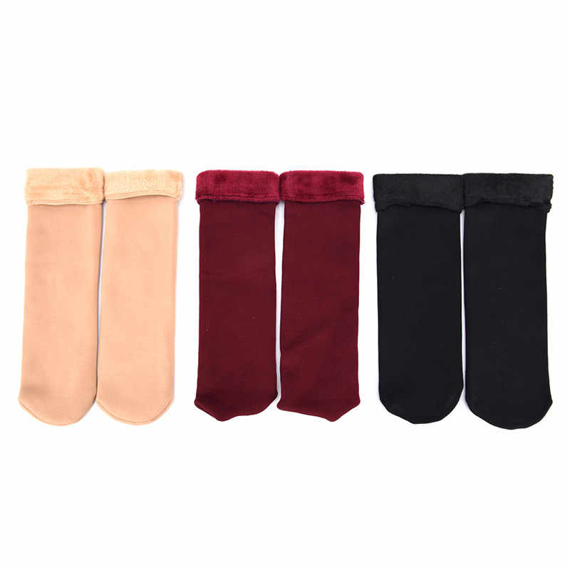 Calcetines de invierno Unisex Calcetines cálidos para el suelo Calcetines gruesos Calcetines de lana para el hogar botas de nieve Calcetines de algodón Mujer terciopelo