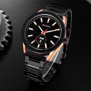 Image 5 - CURREN zegarki dla mężczyzn mężczyzna luksusowy pasek ze stali nierdzewnej zegarek na co dzień styl kwarcowy na rękę zegarek z kalendarzem czarny zegar mężczyzna prezent