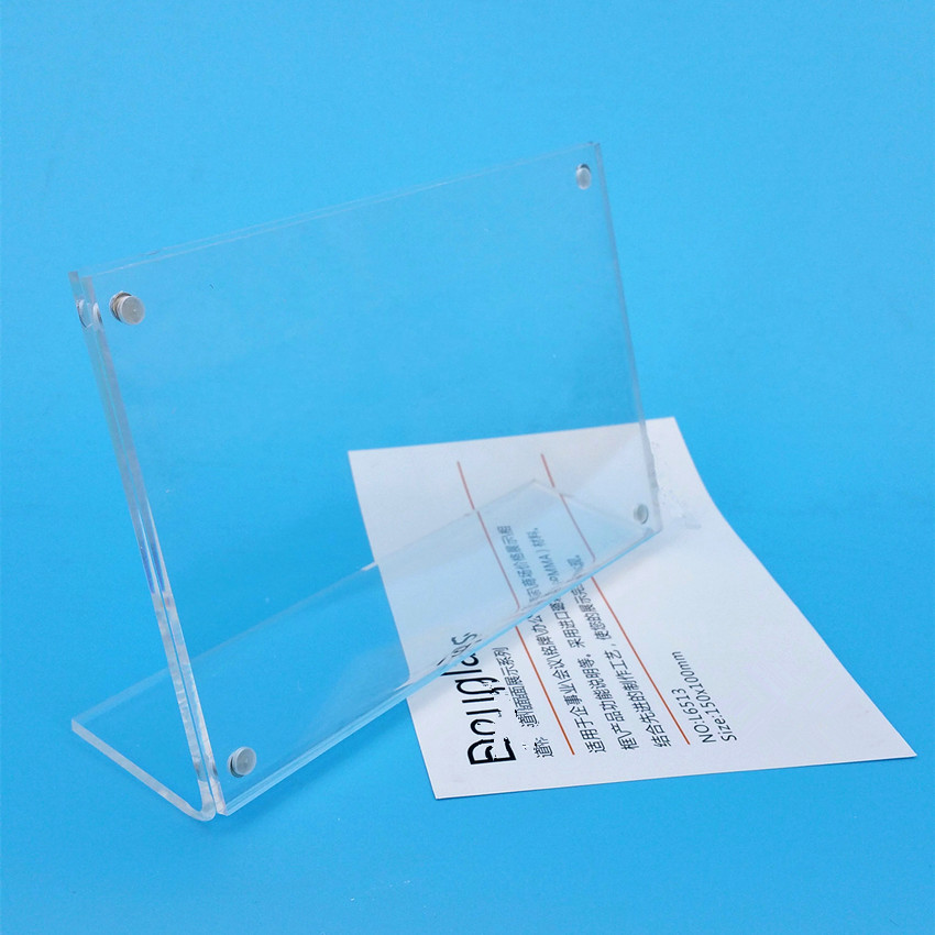 150x100mm Clear Acrylic Sign Display Paper Card Table Label Holder Horizontal L Stand With Magnet In Corner 200pcs