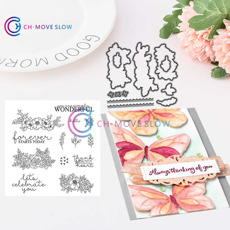 CH Bloom & Grow Bundle Stencils die and stamps for DIY Scrapbooking/photo Album stamps Decorative Embossing DIY Cards