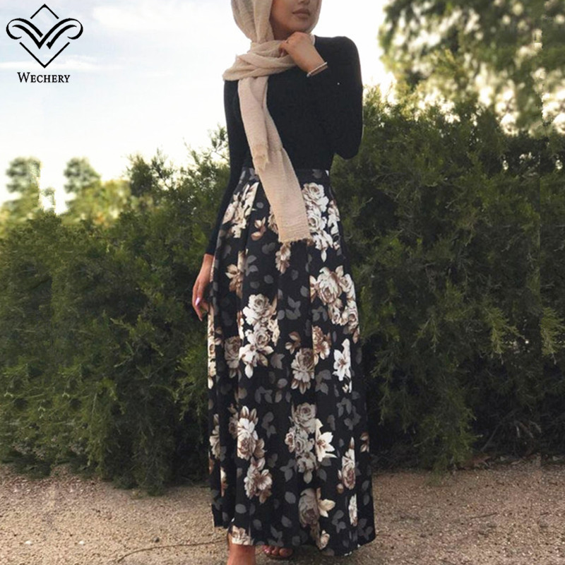 Wechery 2018 New Muslim Black Skirt A-line Floral Style Turkish Islamic Skirts For Women Elegant Flower Printed Abaya Skirt