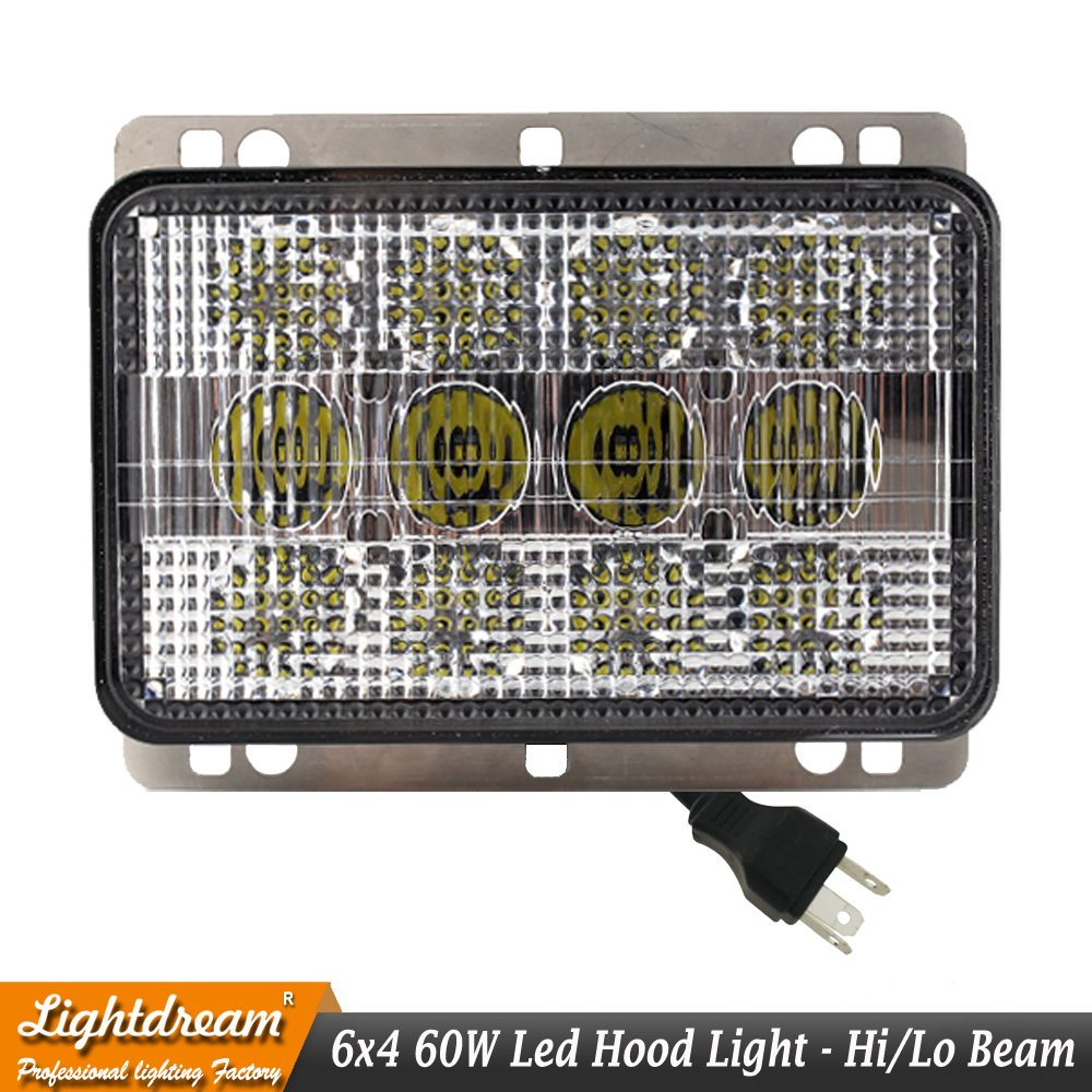 John Deere 5D-7030 Series LED Hood Light Hi/Lo beam with H4 Plug with Mounting Bracket and Stainless Steel Hardware x1pc