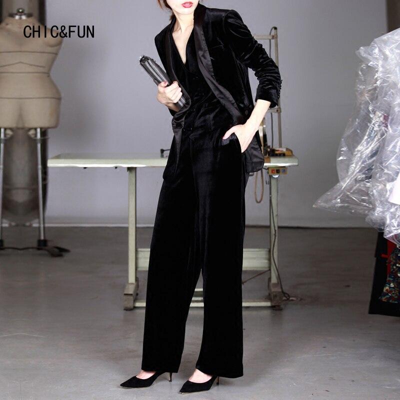 CHIC /& FUN Frauen Samt Hosen 2018 Frühling Lässige Mode Gerade Hohe Taille Bürodame Lose Hosen Ursprünglichen Weibliche Marke