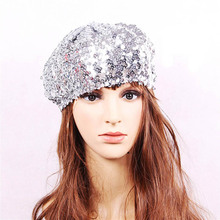 c579e1940d027 Women Mermaid Sequin Beret Hats Ladies Magical Color Changing Stage  Performance Cap Children Glitter Hat Girls
