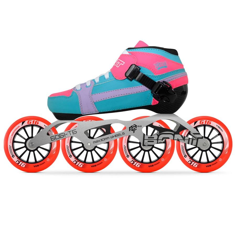 100% Original Bont Pursuit 2PT Speed Inline Skates Heatmoldable Carbon Fiber Boot 6061 Frame G16 4*90/100/110mm Wheels Patines цена