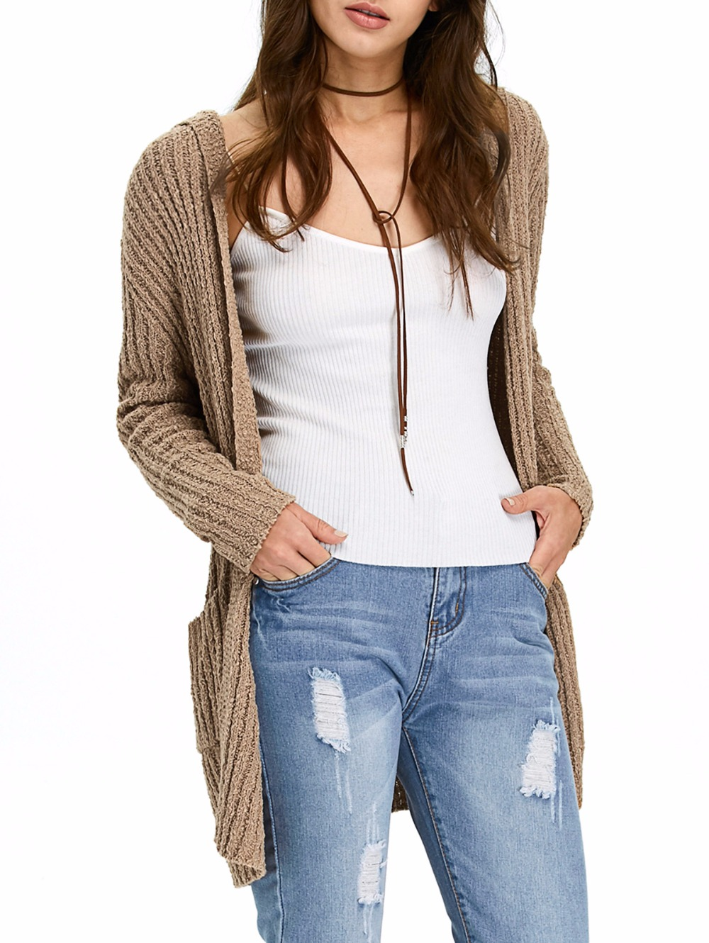 b3f05b507 ZAFUL Women Autumn Hooded Ribbed Long Cardigan Sweaters Brown Color ...
