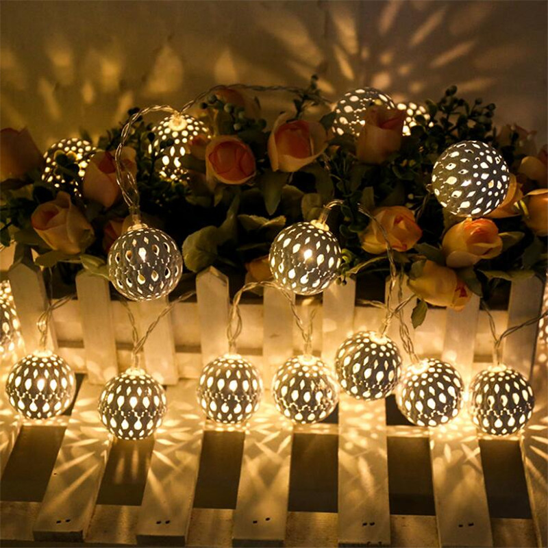 Iron Ball 5M 28Leds LED Fairy String Lights Home Outdoor Decoration Christmas Holiday Party guirlande lumineuse Lighting 5m 28leds snowflake led string lights christmas holiday lighting for the curtain bedroom party wedding decoration