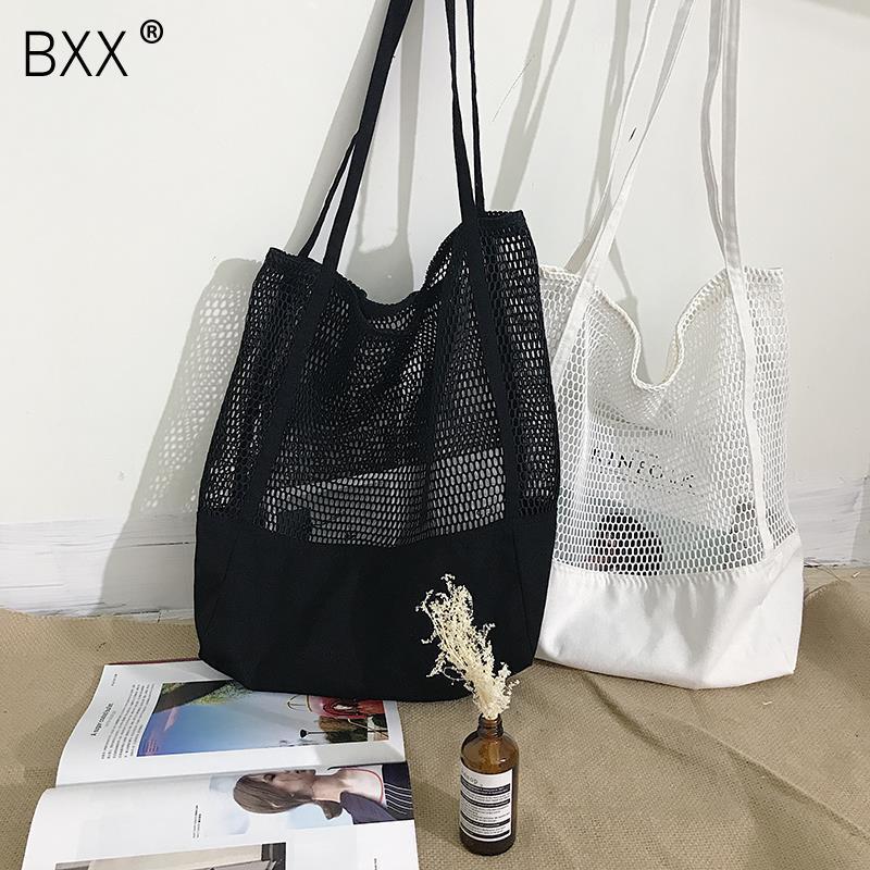 [BXX] 2020 New Pattern Women's Handbag Mesh Hollow Out Sandy Beach Package Large Capacity Shoping Single Shoulder Bag DA129