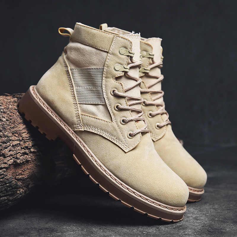 Мужские ботинки из замши; коллекция 2019 года; Водонепроницаемая Рабочая обувь; безопасные натуральные мужские кожаные ботинки; мартинсы; большие размеры 39-44