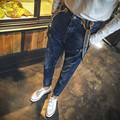 2016 Overol de Mezclilla Masculino Tirantes Bolsillos Delanteros Hombres Jeans Boyfriend Jeans Rasgados Agujero Ocasional Azul del Babero Del Mono Del Tamaño