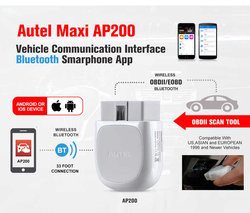 Autel AP200 Bluetooth Adapter OBD2 Auto Scanner Automotive Diagnostic Tool Auto Diy Code Reader Voor Ios Android Pk Maxicom MK808