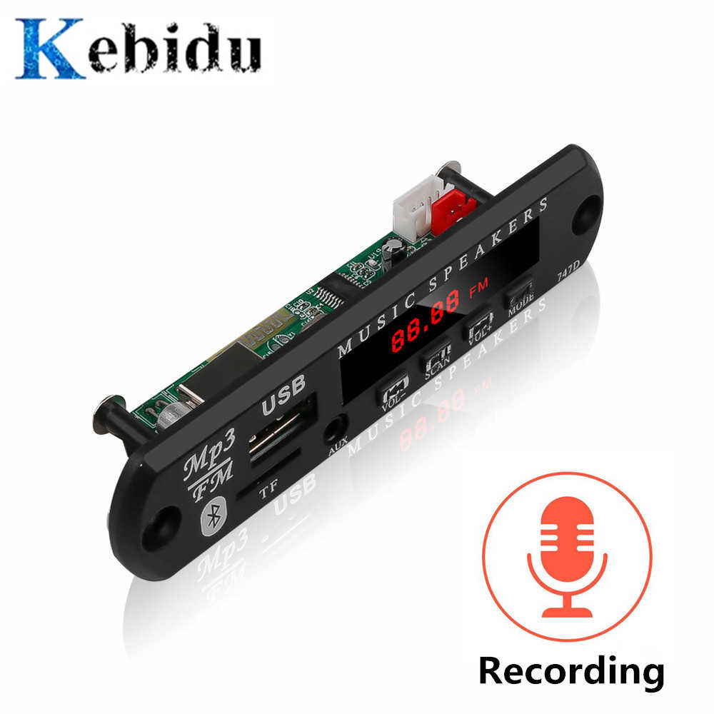 KEBIDU 12 V FAI DA TE Scheda di Decodifica Modulo Bluetooth MP3 LED USB TF di FM Radio Modulo Senza Fili di Bluetooth Decoder Record MP3 lettore