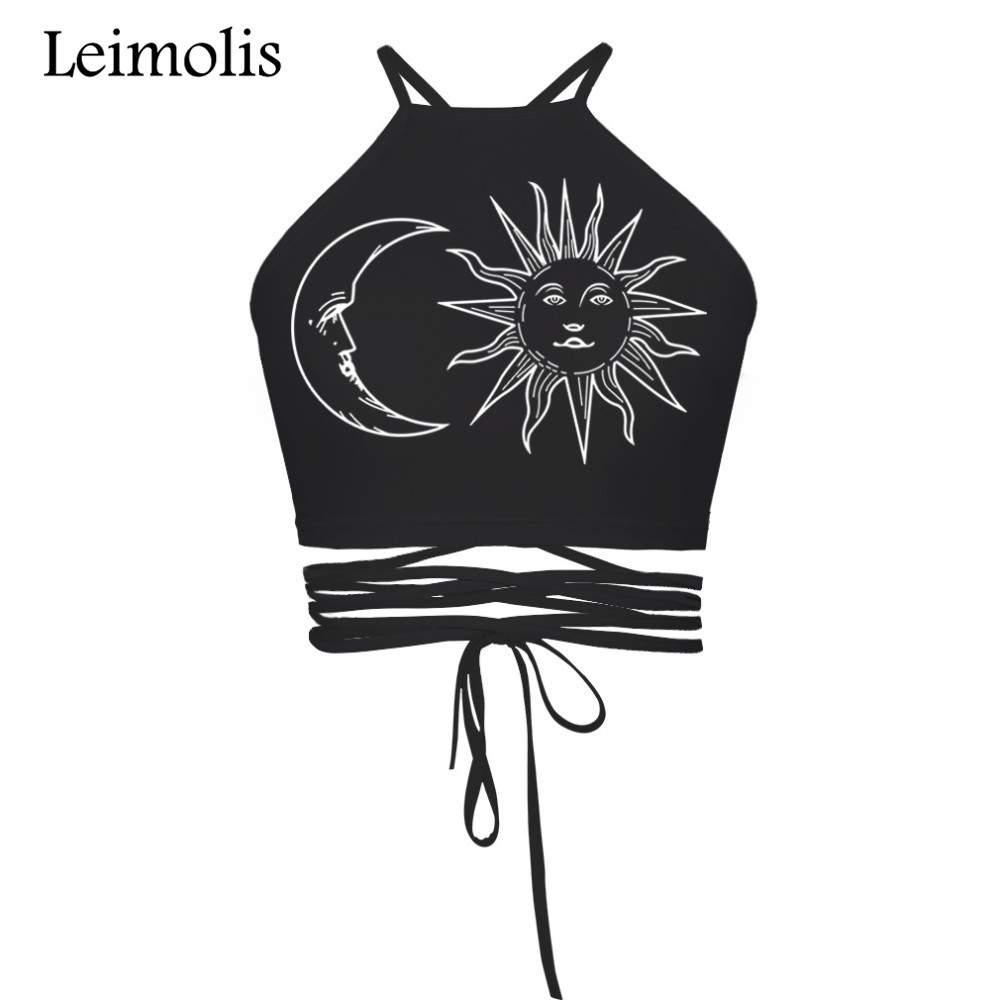 Leimolis 2017 summer beach style casual sexy strappy halter crop top 3D print vintage Sun Moon Dreamcatcher women tops camisole