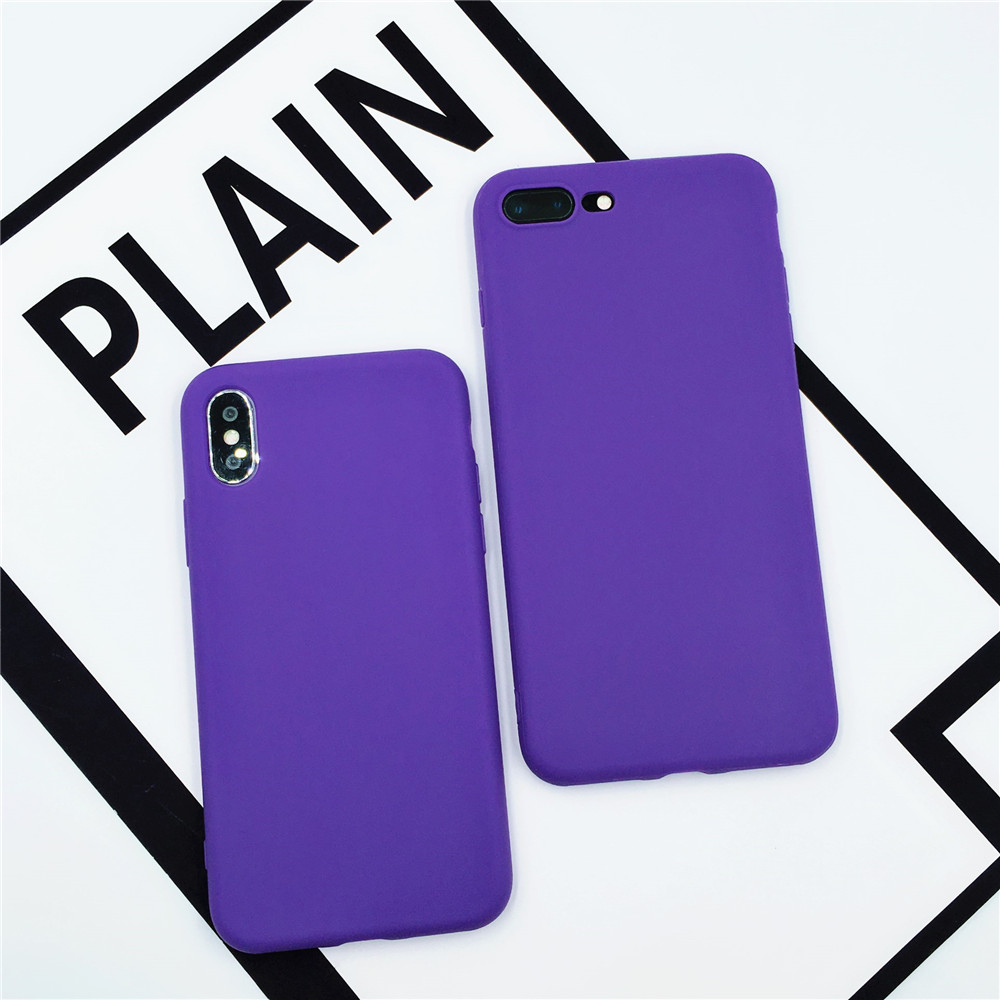 Purple Color Frosted Matte Cases For iPhone 7 8 Plus X Xr Xs Max Soft Silicone TPU Back Cover for iPhone X 6 6 Plus Yellow Case(China)